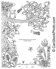 Vector illustration frame with flowers zen tangl tree. Dudlart. Coloring book anti stress for adults. Black white.