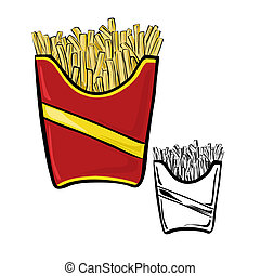 Fries pack - Vector illustration : Fries pack on a white...
