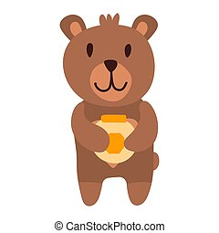 Cute bear cartoon hand drawn vector illustration in flat style with a jar of honey. Can be used for printing on t-shirts, children s clothing, children s invitation cards. Good brown grizzly, wild animals.