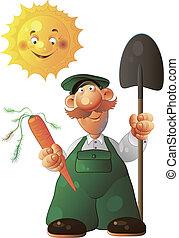 gardener - Vector Illustration gardener. Operation of fools...