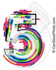 vector, illustration., getal, illustratie, 5., lettertype