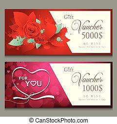 Vector illustration Gift voucher Happy Valentine day