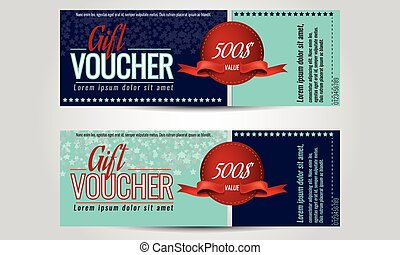 Vector illustration, Gift voucher template with clean and modern pattern.