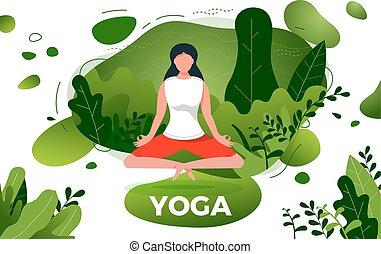 fitness typographic grunge poster meditation girl/ lotus