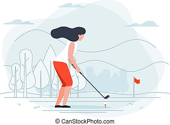 Vector illustration - girl playing golf.