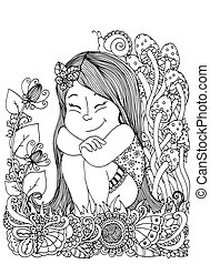 Vector illustration , girl sitting in the flowers, mushrooms. Doodle floral drawing. A meditative exercises. Coloring book anti stress for adults. Black white.