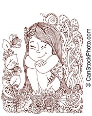 Vector illustration , girl sitting in the flowers, mushrooms. Doodle floral drawing. A meditative exercises. Coloring book anti stress for adults. Brown white.