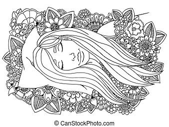 Vector illustration girl sleeping on a pillow in the flowers. Doodle drawing. Meditative exercise. Coloring book anti stress for adults. Black white.