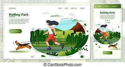 Vector illustration girl with dog skating in park