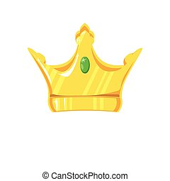 Gold crown with precious stone on white background