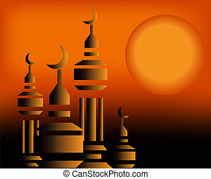 Vector illustration - Golden Arabic Calligraphy, hand...