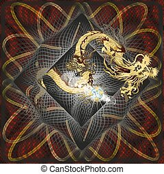Golden Chinese Dragon on textured b