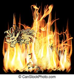 golden Chinese dragon with fire
