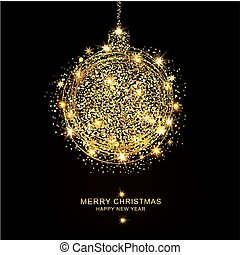 Vector illustration: golden christmas ball of sparkles and stars on a black background