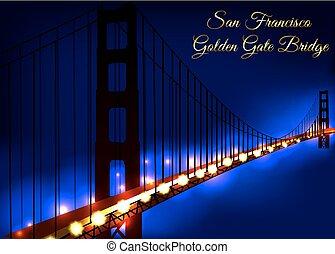 Vector illustration Golden Gate Bridge in San Francisco at night