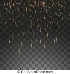 Vector illustration golden rain isolated on a transparent background