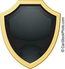 Vector illustration golden shield with a dark background
