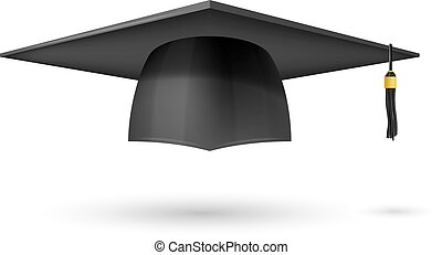 Vector illustration graduate hat with a tassel on a white background. Symbol graduation. The