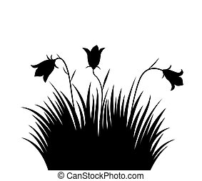 Vector illustration grass and flowers background