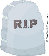Vector illustration gravestone on white background. Cartoon image of a grave stone with the