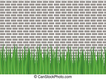 gray brick wall and green grass from below.