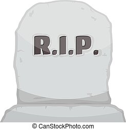 Vector illustration gray gravestone on white background. Cartoon image of a grave stone with