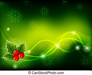 Christmas background - Vector illustration - green Christmas...