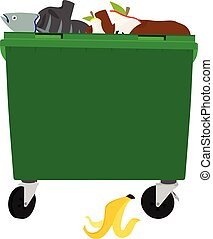 Vector illustration: Green garbage containers with unsorted trash