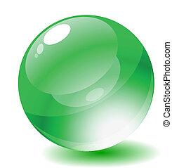 Vector illustration. Green glossy circle web button.
