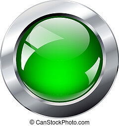 Vector illustration green glosy and shiny abstract web button with metal ring. Isolated on white background.