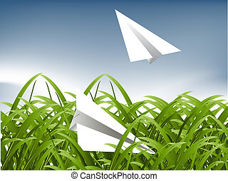 Green Grass and paper plane background, childhood concept.