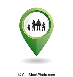 Green map pointer with a people icon.