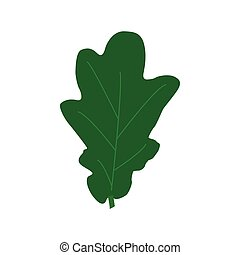 Green oak leaves isolated on white background. Flat style