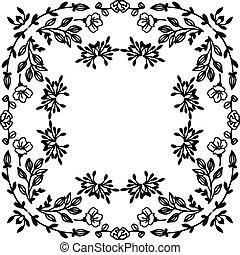 Vector illustration greeting card with design floral frame