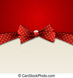 Vector illustration Greeting card with red polka dot bow