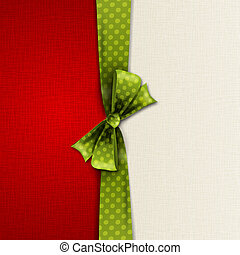 Vector illustration Greeting card with green polka dot bow