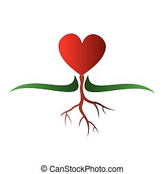 Vector illustration - Growing heart symbol on a white background.
