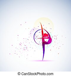 Vector illustration gymnast girls force. Abstract background for banner.