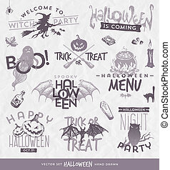 Vector illustration - Halloween type design set with hand drawn elements