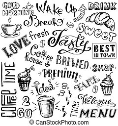 Vector illustration hand drawn coffee to go, cups, mugs,...