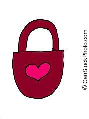 Vector illustration. Hand drawn doodle of padlock in heart shape. Cartoon sketch