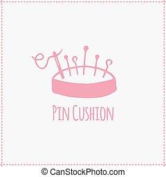 Vector illustration. Hand-drawn pink flat pin cushion