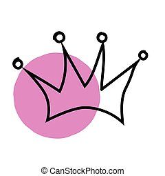 Hand drawn pink crown on a white background