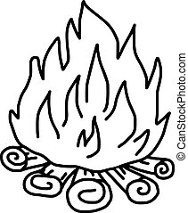 vector illustration hand drawn sketch of campfire isolated on white background