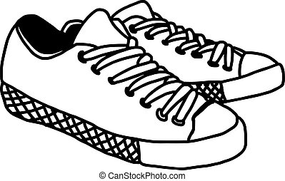 vector illustration hand drawn sketch of sneakers isolated on white background