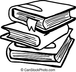 vector illustration hand drawn sketch of textbooks with bookbark isolated on white background