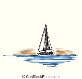 Vector illustration Hand drawn sketch with yacht and lighthouse. Line design