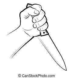 Hand with Knifes - Vector illustration : Hand with Knifes on...