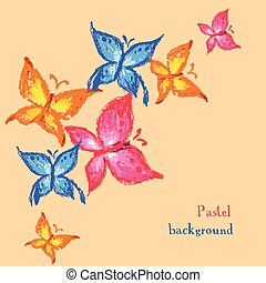 Vector illustration handmade drawing pastel chalks butterfly background.