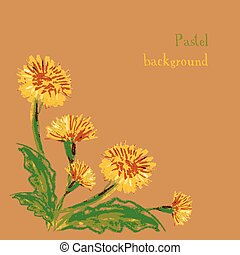 Vector illustration handmade drawing pastel chalks floral background.